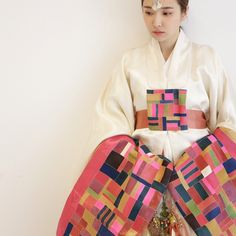 Korean hanbok made out of traditional patchwork fabric