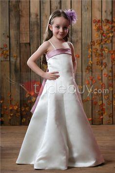 Vestido de Chica de Satinado con Flor Silueta Línea A con Correas  (Envío Gratuito )
