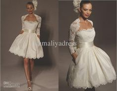 Wholesale 2012 New Arrival Short Ball Gown Strapless Bolero Jacket Chic Bridal Wedding Dress With Pockets, Free shipping, $99.68-107.52/Piece | DHgate