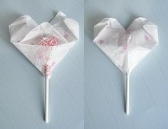 Craft: Origami Heart Valentines for Lollipops - from Zakka Life Valentines Origami, Valentine Crafts, Holiday Crafts, Holiday Ideas, Adult Crafts, Easy Crafts, Crafts For Kids, Cute Valentine Ideas, Be My Valentine