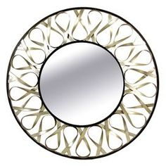 "Round metal wall mirror in bronze with openwork detailing.  Product: Mirror Construction Material: Metal and mirrored glassColor:  SilverDimensions: 28"" Diameter"