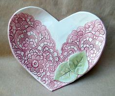 Ceramic Lace Heart Bowl Hand Built Pottery