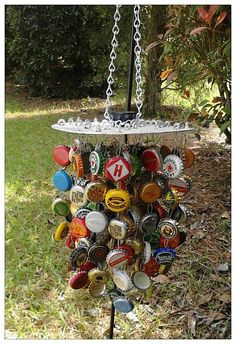Bottle cap wind chimes that I made from beer bottle caps. Mostly imported, which makes it colorful and fun to look at. It makes a beautiful sound when the wind blows.