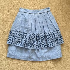 "Anthropologie skirt sz 4 Perfect condition light blue skirt by odille ! Embroidered blue print and skirt is double lined ! Waist is 13"" and length is 21"" also had pockets :) Anthropologie Skirts"