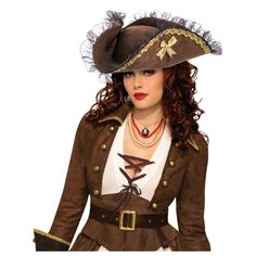 The Fancy Brown Tricorn Pirate Hat will be the perfect addition to complete your 2019 Halloween costume! Accessories from Wholesale Halloween Costumes are top quality, so you will stand out from the rest! Pirate Queen, Pirate Woman, Lady Pirate, Pirate Life, Popular Costumes, Costumes For Women, Black Lace Leggings, Wholesale Halloween Costumes, Costume Hats