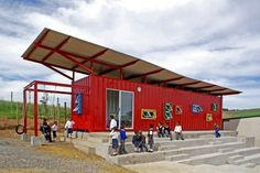The Vissershok School is a Colorful Shipping Container Classroom for Kids in South Africa Vissershok Container Classroom by Tsai Design – Inhabitat - Sustainable Design Innovation, Eco Architecture, Green Building Container Buildings, Container Architecture, Eco Architecture, Container Houses, School Architecture, Cargo Container, Container Design, Container Conversions, Recycling Containers