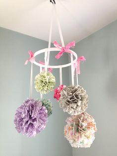 Nursery Mobile, Baby Mobile, Kids Decor, Hanging Pom Poms, Nursery Decor - Pink, Yellow, Gray, Multiple Customizable Fabrics