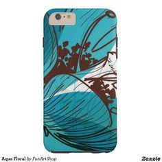 Aqua Floral Tough iPhone 6 Plus Case