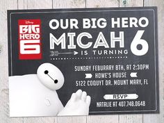 Hello I am a Baymax Invitation Start your Big Hero 6 birthday with our cute Baymax invitation. This listing is for a personalized Big Hero Six