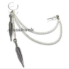 Simple Double Feather Chain Ear Cuff Earring