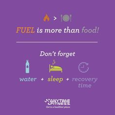 Fuel is more than just balance diet. Don't forget your hydration levels, sleep and recovery period between each workout. Time to relax and de stress,happy weekend everyone! Fitness Motivation, Monday Motivation, Race Training, Strength Training, Anytime Fitness, Race Day, Balanced Diet, Happy Weekend, Get Healthy