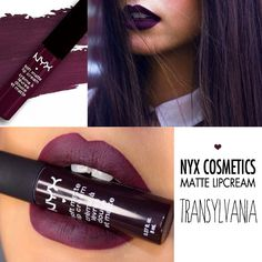 NYX Cosmetics Matte LipCream Transylvania - Love this for the fall! Who am I kidding I love it all year around! Makeup Goals, Love Makeup, Makeup Tips, Nyx Makeup, Skin Makeup, Makeup Brush, Nyx Cosmetics, Nyx Soft Matte Lip Cream, Beauty Make-up