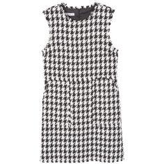 MANGO Houndstooth Pattern Dress ($70) ❤ liked on Polyvore featuring dresses, mango dresses, hounds tooth dress, print dress, pattern dress and lined dress