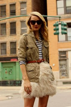 atlantic pacific feather skirt (love, but would have to be a tad longer for me) kate spade stripes utility jacket