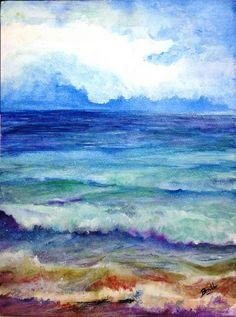 Cielo y Mar. Watercolor by Benilde Rodríguez