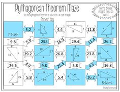 This self-checking maze has 11 problems involving the Pythagorean Theorem. Students will be required to use the Pythagorean Theorem to solve for the missing leg or hypotenuse of right triangles. Triangle Worksheet, Maze Worksheet, Graphing Worksheets, Cursive Writing Worksheets, Geometry Worksheets, 8th Grade Math Problems, Word Problems, Teaching Geometry, Teaching Math