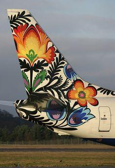 """""""Kwiatki Lowickie"""" on a B. 737-400 British Airways."""
