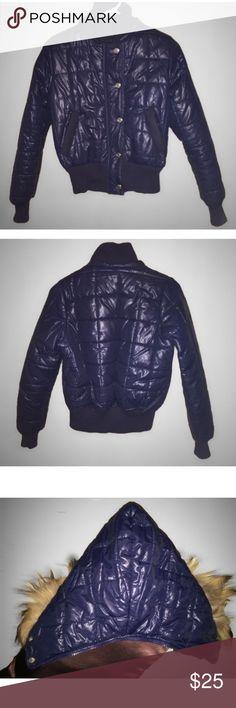 Blue Bomber Jacket S/M Detachable Hood Blemish JK2 Blue Bomber Jacket S/M (MISSING ZIPPER PULL for the Detachable Hood) Puffer Cotton Blend Solid Junior Functional Pockets JK2 (Japanese Brand) Jackets & Coats Puffers
