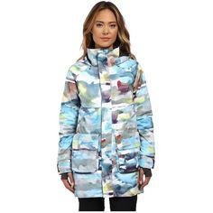 Burton Mirage Jacket Women's Coat ($265) ❤ liked on Polyvore featuring outerwear, coats, hooded coats, long sleeve coat, trench coat, blue trench coat and burton coats
