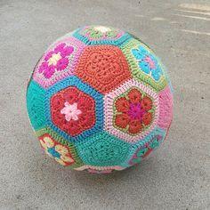 A crochet soccer ball: http://www.crochetbug.com/how-to-make-an-african-flower-soccer-ball/