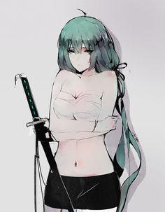sword girl, Aoi Ogata on ArtStation at https://www.artstation.com/artwork/qP89N