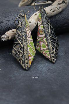 Modern Earrings Polymer Clay Earrings Modern Jewelry Funky Colorful Jewelry Long Dangle Earrings Unique Fashion Jewelry Unique wife gift