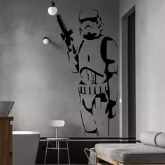 Are you the ultimate Star Wars fan? Let your Geek Flag Fly with this awesome, damage-free, Star Wars Storm Trooper wall decal. - 3D Illusion Modern Star Wars Decal, Storm Trooper - Damage free install