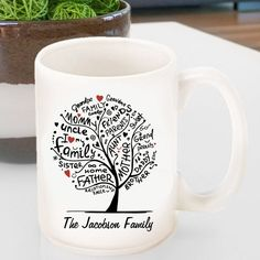 Personalized Family tree coffee mug with free personalizing. This unique coffee cup will make great gifts for mom, grandma or any special person on your list.
