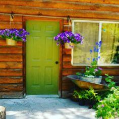 Gray Front Door Colors, Shop Doors, Bed And Breakfast, Shed, Outdoor Structures, Plants, Storefront Doors, Plant, Barns