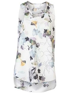 0620db940549a 3.1 Phillip Lim Multicolor Floral Print Stretch Silk Tank