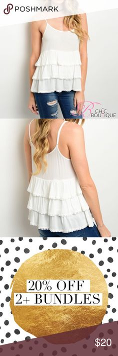 """✳️SALE✳️Ivory Ruffle Tank Top Spaghetti strap Ivory top features a round neckline and multi-tiered detail.Marled 100% Rayon  Measurements for medium: Length: 25"""" Bust: 40"""" Bchic Tops Tank Tops"""