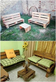 This is simply a fantastic piece of the wood pallet! This wood pallet design is featuring out with the access of the garden couch that is set with the styling of the rustic wood pallet benches and table. This furniture set can either be best located indoor or outdoor areas of the house too.