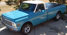 "1971 chevy truck medium blue.  A C10.  ""Simple, beautiful, classic."""