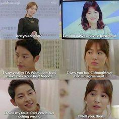 Song Joong-ki and Song Hye-kyo Descendants of the sun Korean Drama Funny, Korean Drama Quotes, Descendants, Desendents Of The Sun, Kim Book, Songsong Couple, Song Joon Ki, Best Kdrama, Drama Fever
