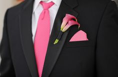 Grooms boutonniere with Pink Calla Lily