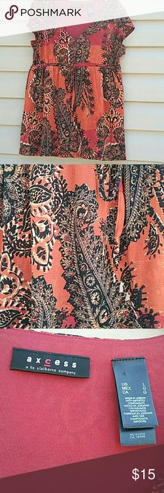 Axcess Liz Claiborne top Beautiful Orange and black paisley Axcess V neck top ties in the front NWOT never worn size L picture captures exact color Axcess Tops