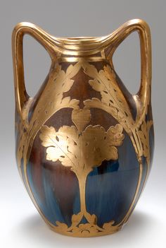 "PETER BEHRENS vase, 1903, stoneware with brown and cobalt blue glaze, gilt copper plating, manufactured by Merkelbach & Wick, marked ""Westerwälder new ceramic"", 27 cm H.  |  SOLD $2,256 Oct. 2009"