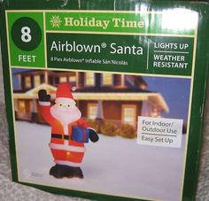 NEW NIB GEMMY SANTA WAVING WITH CHRISTMAS PRESENT 8' AIRBLOWN INFLATABLE