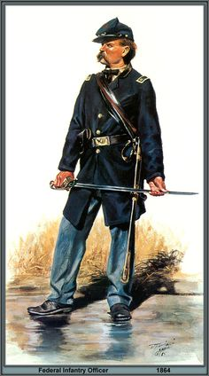 A captain in the II Corps, Army of the Potomac, 1864. Note how he wears a less conspicuous sack coat and plain soldier's brogans. As the war continued, officers chose practicality over elegance.