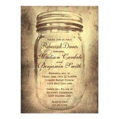Rustic Mason Jar Rehearsal Dinner Invitations