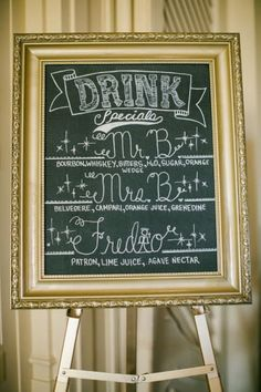 Use some glitzy paint to turn an old frame into a fancy-shmancy chalkboard and show off your signature cocktails: