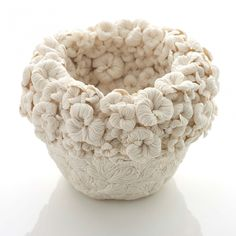 New Porcelain Vessels Densely Layered in Leaf Sprigs and Other Botanical Forms by Hitomi Hosono
