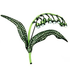 Enamel and green sapphire lily of the valley brooch - www.bazaart.me