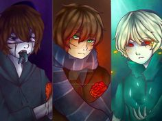 Eyeless Jack, Ben Drowned and Homicidal Liu by Cross-Hatch001.deviantart.com on @DeviantArt
