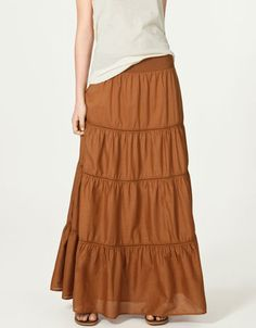 Love this long skirt. Style + comfort. From http://www.zara.com/