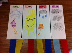 Make windsocks to observe wind direction and movement. Illustrate them with types of weather. Weather Art, Weather Wind, Weather Crafts, Weather Seasons, Seasons Activities, Weather Activities, Spring Activities, Science Activities, Children Activities
