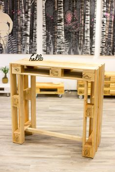 Pallet Furniture Pallet Counter Pallet Bar - Dining Tables - Furniture - Handmade with Love .- Pallet Furniture Pallet Counter Pallet Bar – Dining Tables – Furniture – Handmade with Love in Greifswald, Germany by FETTE PALETTE Pallet Counter, Pallet Desk, Pallet Bar, Car Furniture, Lounge Furniture, Pallet Furniture, Bar Dining Table, Drum Table, Creation Deco