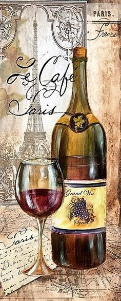 Wines - Very pretty wine bottle and glass - a vintage pic from a… Vintage Wine, Vintage Labels, Vintage Cards, Vintage Paper, Retro Vintage, Vintage Kitchen, Vintage Trends, Vintage Pictures, Vintage Images