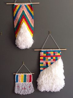 Woven wall hanging collection available through etsy shop.