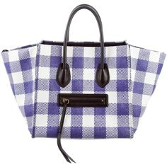Pre-owned C?line Gingham Medium Luggage Phantom Tote ($995) ❤ liked on Polyvore featuring bags, handbags, tote bags, purple, zip tote, white tote bag, white purse, zippered tote bag and celine tote bag